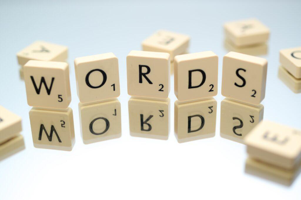 Words written with Scrabble blocks